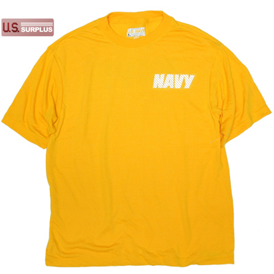US(米軍放出品)US NAVY 米海軍 SOFFE PT Tシャツ ポリエステル100 Yellow [Made in USA]