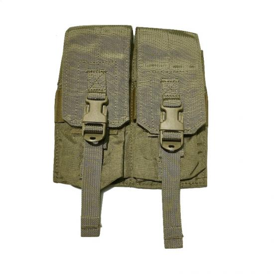 US(米軍放出品)EAGLE SFLCS V2 M4 Double 2Mag Pouch Khaki [イーグル製 M4ダブルマガジンポーチ バックル付きフラップ仕様][M-4 DBL PCH/ 2 MAGS PER PCH][MOLLEスタイル]