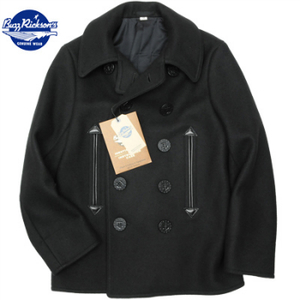 【WILLIAM GIBSON by BUZZ RICKSON'S(バズリクソン)】Type BLACK PEA COAT 36oz. ウールメルトン