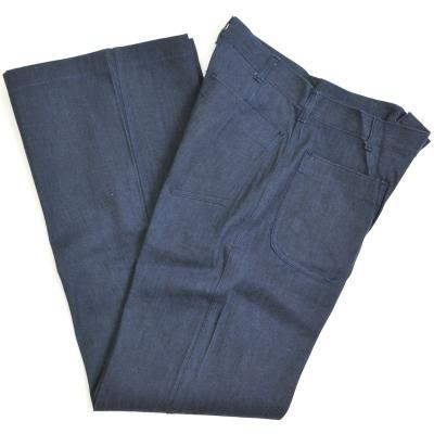 【US/米軍放出品】US Navy Man's Poly-Cotton Denim Utility Trousers 米海軍 ベルボトム
